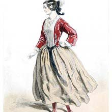 Fashion plate showing a young woman wearing red jacket and stockings