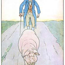 A sullen pig walks down a road, followed by a man walking with a stick