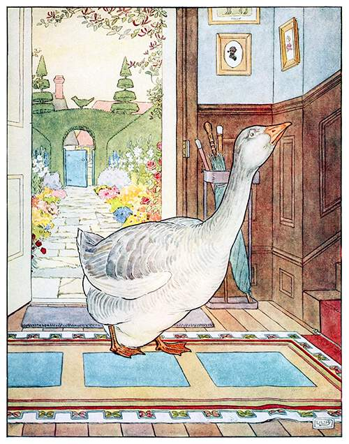 A gander stands in the entrance hall of a house looking up the staircase