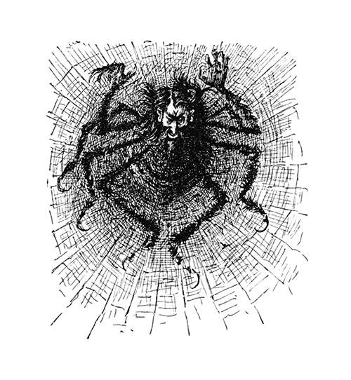 A large spider with man's head and hands is seen at the center of a cobweb.