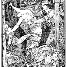 A woman running away toward the woods is seizes her around the waist by a man