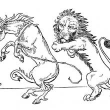 Profile view of a unicorn and a lion standing on their hind legs