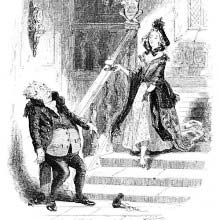 A man stands in fright at the foot of a flight of stairs a woman is descending