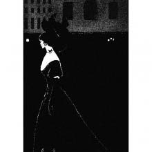 At night, a woman wearing an evening dress walks through an empty square