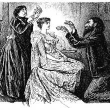 A man is kneeling before a woman, waving his hands and trying to hypnotize her