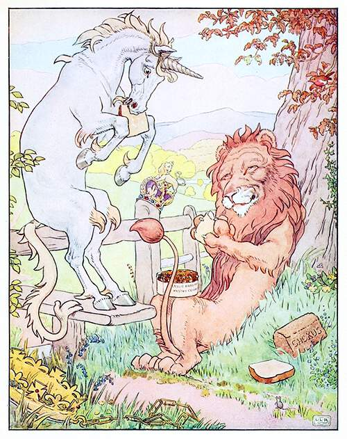 A unicorn and a lion have picnic out in the fields