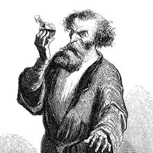 A man in a dressing gown holds a vial at eye level and takes a look at it