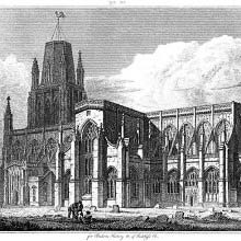 View of the south side of St Mary Redcliffe in Bristol showing the transept and churchyard.
