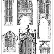 Detail view of four windows and a doorway at St. Mary Redcliffe, Bristol