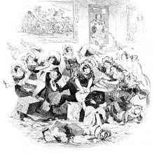 Maids are assaulting two men, armed with petticoats and garments.