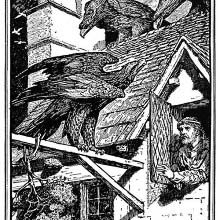 A man opens a garret window as eagles are perched on the roof
