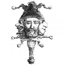 A three-faced figure wears a jester's hat and collar