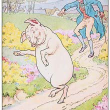 A smiling pig walks on its hind legs on a country road, followed by a man