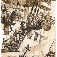 View of a balloon hovering over a coastal city with passengers waving goodbye