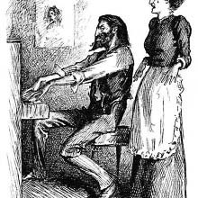 A man is sitting at the piano as a woman stands singing behind him