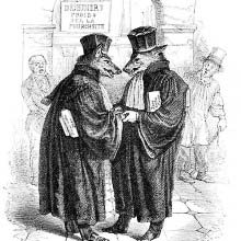 Two wolves in lawyer's robes are congratulating each other