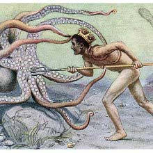 Neptune fights an octopus with his trident