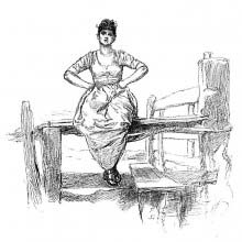 A young, sturdy country woman is sitting on a fence with her hands on the hips