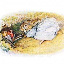 A female rabbit goes into a burrow pushing a wheelbarrow