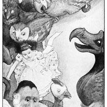 Alice and various animals run in a circle as the dodo watches in the middle