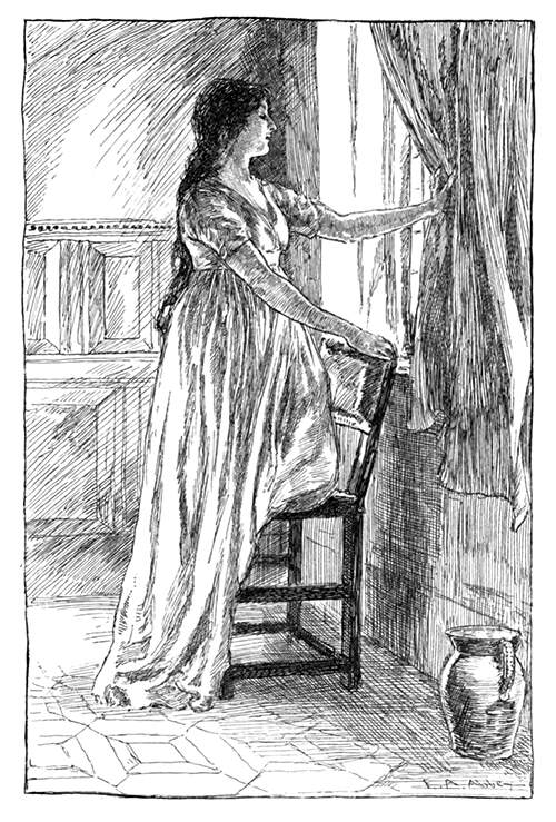 A young woman in a nightdress leans on a chair to look out of the window