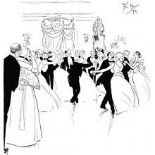 Guests at a ball are engaged in a dance, forming some ill-matched couples