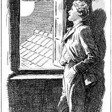 A young man stands by an open window in an upstairs room looking at the moon