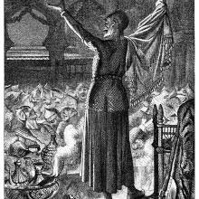 An exuberant demon stands on a tableat a banquet where the guests are dying