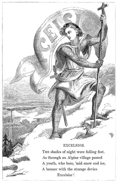 A young man stands on a mountain holding a banner which bears the word Excelsior