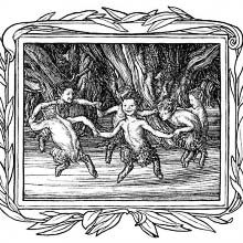 Six little fauns dance round in a circle in the woods
