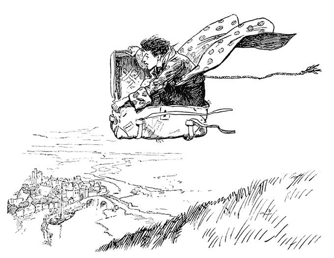 A boy flies over the countryside sitting in a trunk