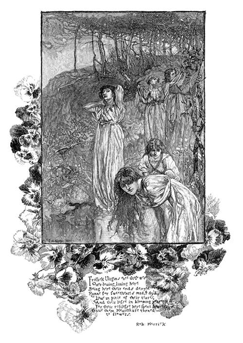 A group of young women can be seen in a wooded landscape