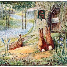 Three rabbits wait at the door of the Pen Inn, which bears the sign To Let