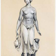 Young woman naked from the waist up carrying a pitcher with a goat at her side