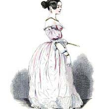 Depiction of a young lady in an evening dress, white gloves, and holding a fan