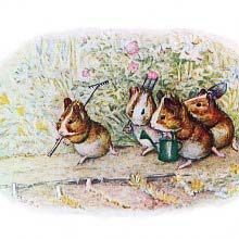 Four vole-like rodents walk down a garden path carrying gardening tools