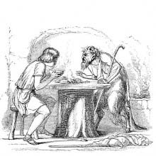 A man at a table blows in his bowl of food as a satyr stands opposite