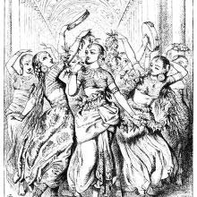 A group of women is dancing along a colonnade shaking tamourines