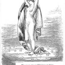 The moon is represented as a half-naked woman holding a crescent in her hands