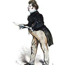 Depiction of a man wearing a tailcoat and holding a sheet of paper