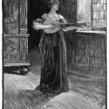 A woman stands playing the lute in a sparsely furnished room