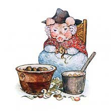 A female pig wearing is sitting on a chair and peeling potatoes