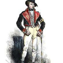 Portrait of a man in a hat, a frogged waistcoat, and a jacket with wide lapels