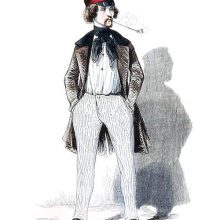 Portrait of a smug-looking young man smoking a long pipe and wearing a cap