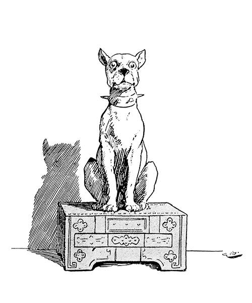 A dog wearing a spiked collar is sitting on a chest, looking at the viewer
