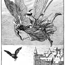 Winged male and female figures are flying over a castle and out to the open sea
