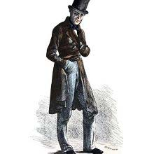 Full-length portrait of a tall and slim man in a worn top hat and redingote