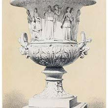 Terracotta vase with foliated ornaments and figures from The Tempest