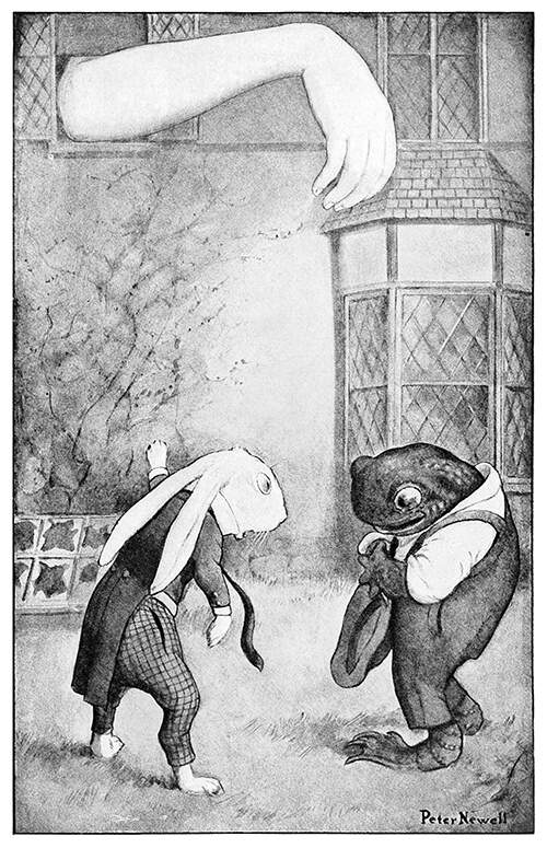 The White Rabbit worries about Alice's gigantic arm sticking out of a window