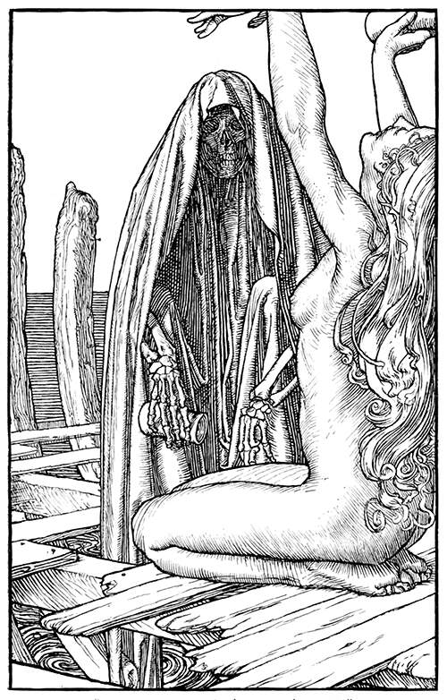 A skeleton wearing a hooded cloak stands before an exulting naked young woman